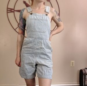 American apparel light wash short overalls size xs
